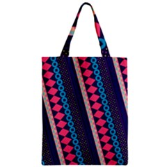 Purple And Pink Retro Geometric Pattern Zipper Classic Tote Bag