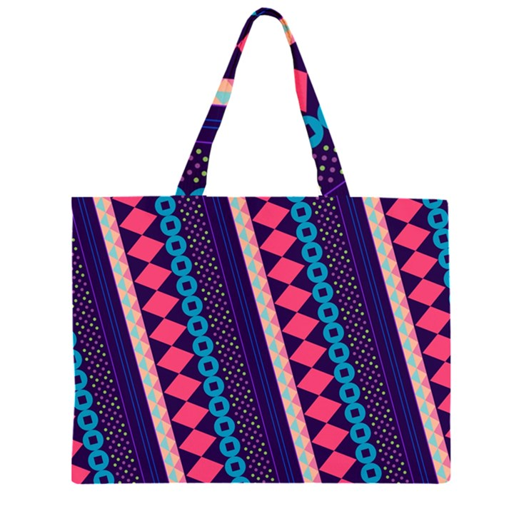 Purple And Pink Retro Geometric Pattern Large Tote Bag