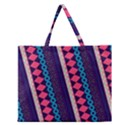 Purple And Pink Retro Geometric Pattern Zipper Large Tote Bag View1