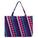 Purple And Pink Retro Geometric Pattern Medium Zipper Tote Bag View1