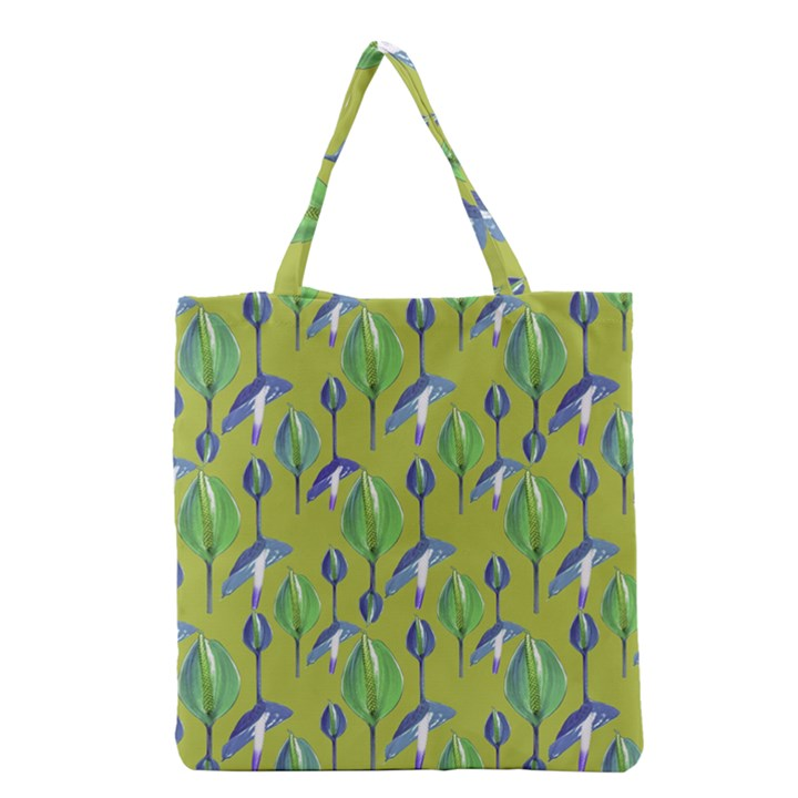 Tropical Floral Pattern Grocery Tote Bag