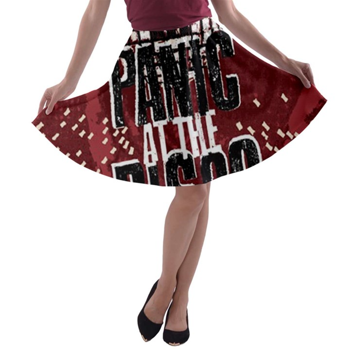 Panic At The Disco Poster A-line Skater Skirt