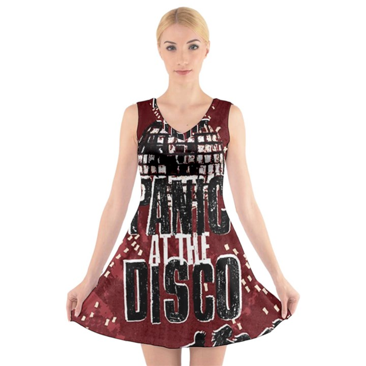 Panic At The Disco Poster V-Neck Sleeveless Skater Dress