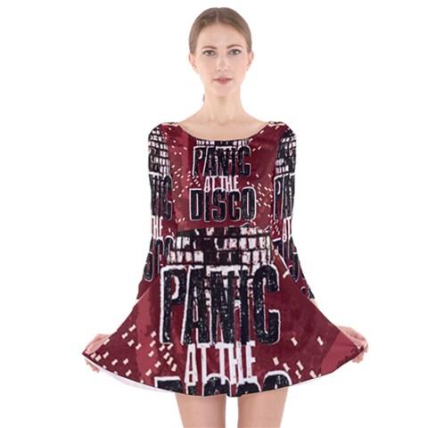 Panic At The Disco Poster Long Sleeve Velvet Skater Dress