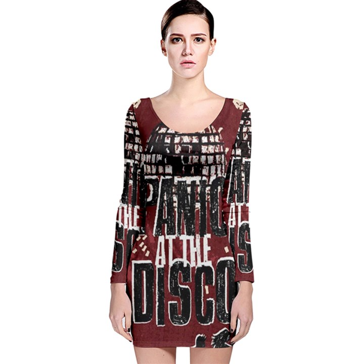 Panic At The Disco Poster Long Sleeve Velvet Bodycon Dress