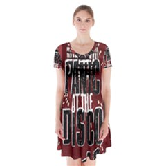 Panic At The Disco Poster Short Sleeve V-neck Flare Dress