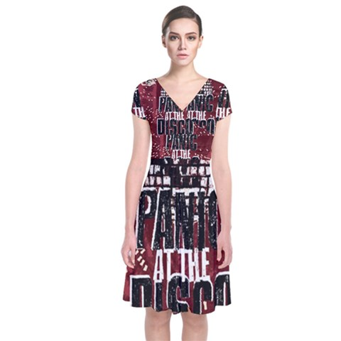 Panic At The Disco Poster Short Sleeve Front Wrap Dress