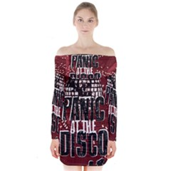 Panic At The Disco Poster Long Sleeve Off Shoulder Dress