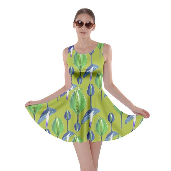 Tropical Floral Pattern Skater Dress
