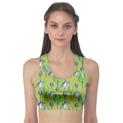 Tropical Floral Pattern Sports Bra