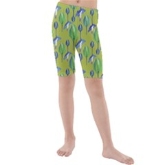 Tropical Floral Pattern Kids  Mid Length Swim Shorts