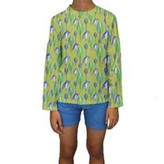 Tropical Floral Pattern Kids  Long Sleeve Swimwear