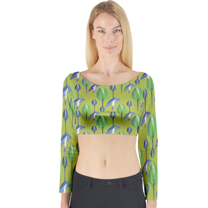 Tropical Floral Pattern Long Sleeve Crop Top