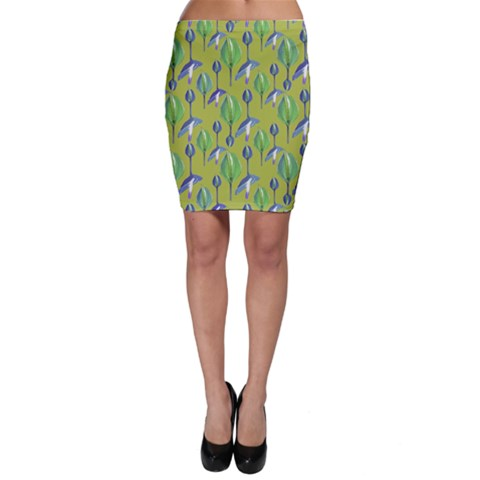 Tropical Floral Pattern Bodycon Skirt