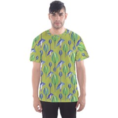 Tropical Floral Pattern Men s Sport Mesh Tee