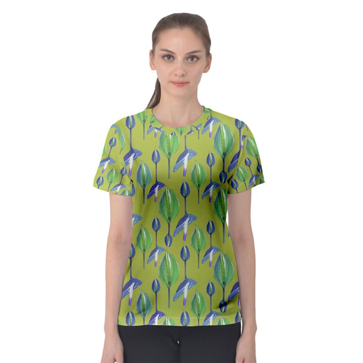 Tropical Floral Pattern Women s Sport Mesh Tee