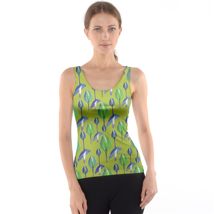 Tropical Floral Pattern Tank Top