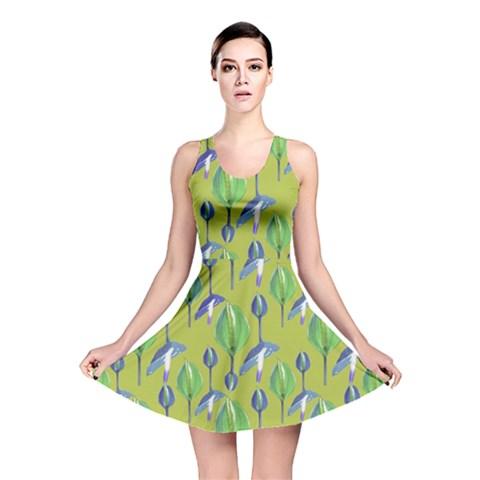 Tropical Floral Pattern Reversible Skater Dress
