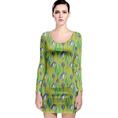 Tropical Floral Pattern Long Sleeve Bodycon Dress