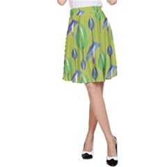 Tropical Floral Pattern A Line Skirt