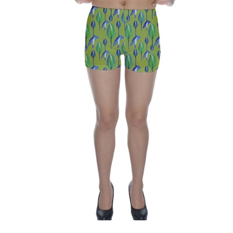 Tropical Floral Pattern Skinny Shorts