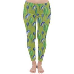 Tropical Floral Pattern Winter Leggings