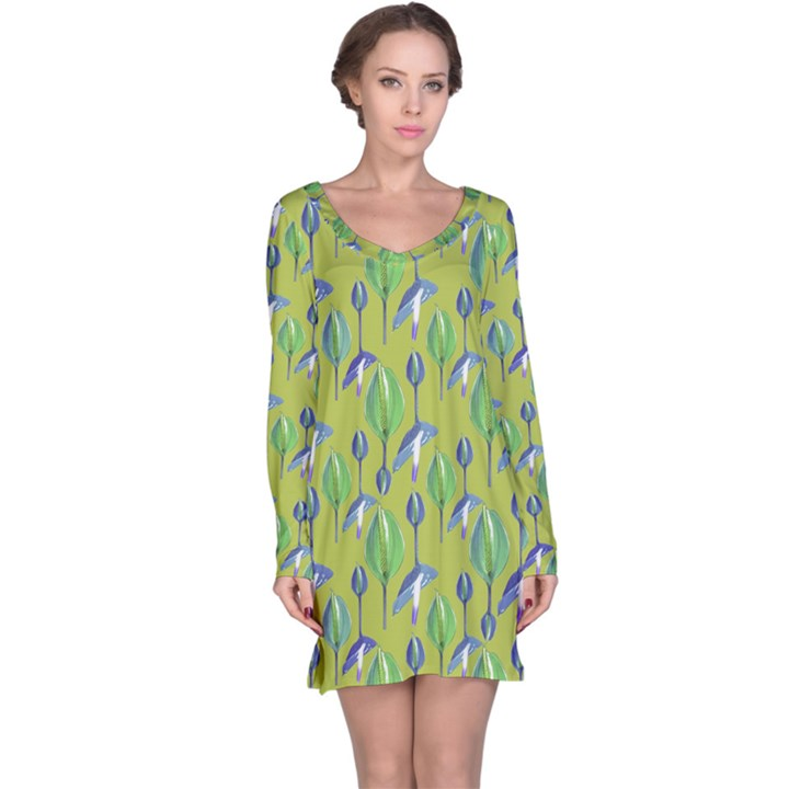 Tropical Floral Pattern Long Sleeve Nightdress