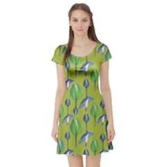 Tropical Floral Pattern Short Sleeve Skater Dress