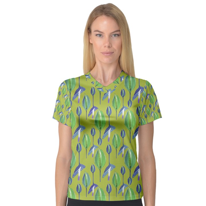 Tropical Floral Pattern Women s V-Neck Sport Mesh Tee