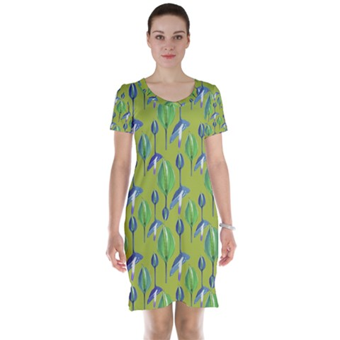 Tropical Floral Pattern Short Sleeve Nightdress