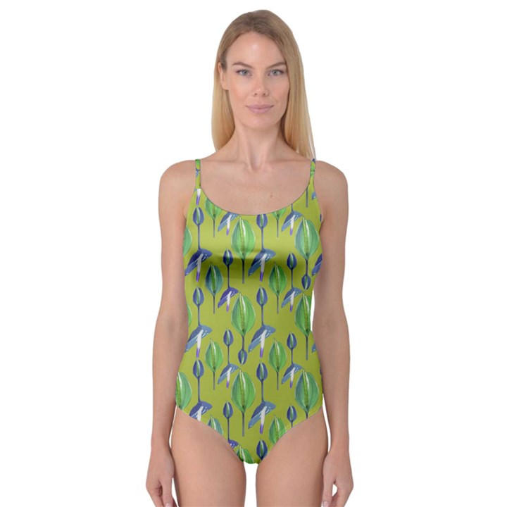 Tropical Floral Pattern Camisole Leotard