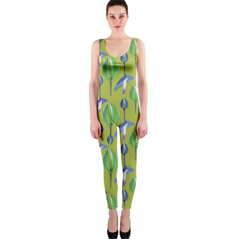 Tropical Floral Pattern OnePiece Catsuit