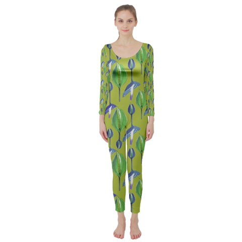 Tropical Floral Pattern Long Sleeve Catsuit