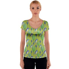 Tropical Floral Pattern Women s V-Neck Cap Sleeve Top