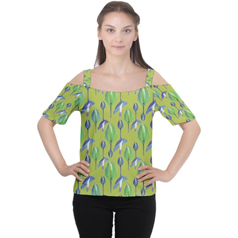 Tropical Floral Pattern Women s Cutout Shoulder Tee