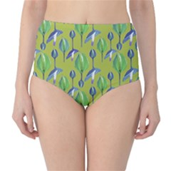 Tropical Floral Pattern High-Waist Bikini Bottoms