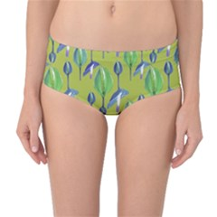 Tropical Floral Pattern Mid Waist Bikini Bottoms