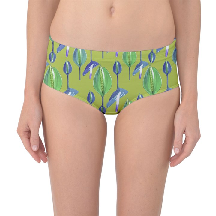 Tropical Floral Pattern Mid-Waist Bikini Bottoms
