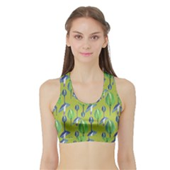 Tropical Floral Pattern Sports Bra With Border