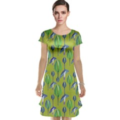 Tropical Floral Pattern Cap Sleeve Nightdress