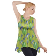Tropical Floral Pattern Side Drop Tank Tunic