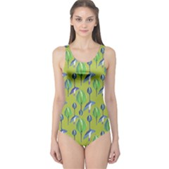 Tropical Floral Pattern One Piece Swimsuit