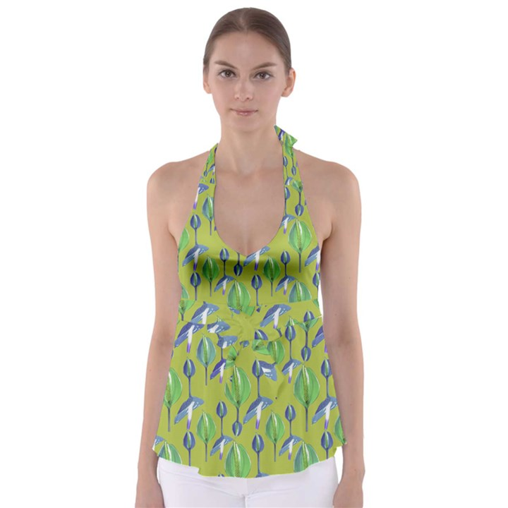 Tropical Floral Pattern Babydoll Tankini Top