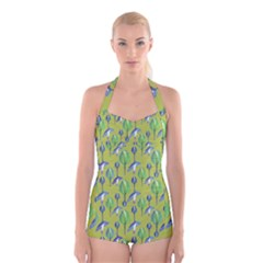 Tropical Floral Pattern Boyleg Halter Swimsuit