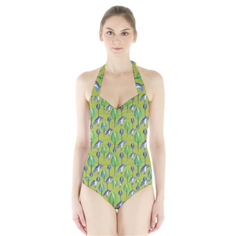 Tropical Floral Pattern Halter Swimsuit