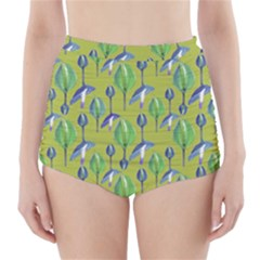 Tropical Floral Pattern High Waisted Bikini Bottoms