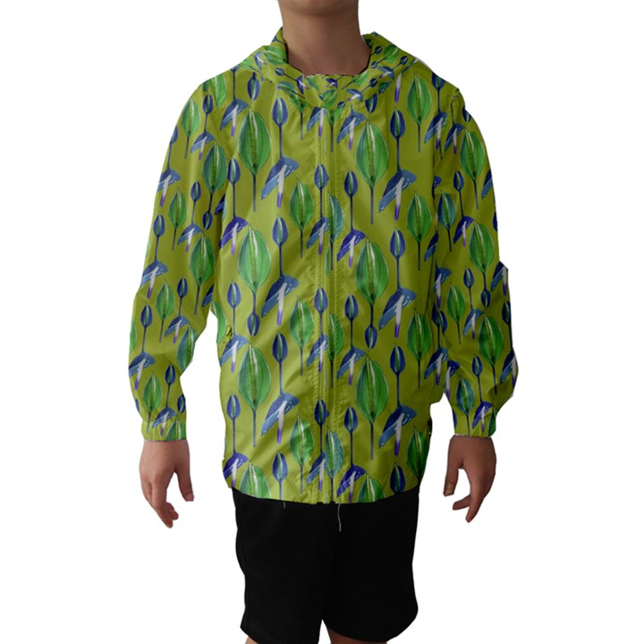 Tropical Floral Pattern Hooded Wind Breaker (Kids)