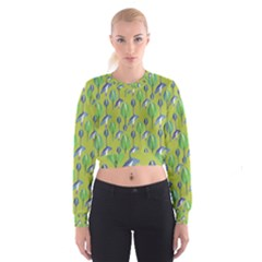 Tropical Floral Pattern Women s Cropped Sweatshirt