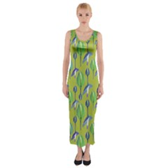 Tropical Floral Pattern Fitted Maxi Dress