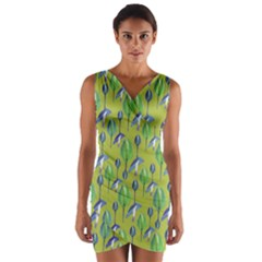 Tropical Floral Pattern Wrap Front Bodycon Dress